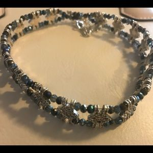 Free People Silver and Blue Beaded Choker Necklace
